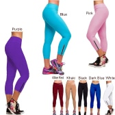 Women Tights Capri Running Pants High Waist Cropped Leggings Fitness M-XL