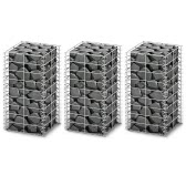 Gabion Set Gabion Wall Galvanized Wire 25 x 25 x 50 cm 3 pcs