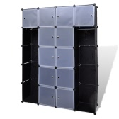 Modular Cabinet with 14 Compartments Black and White 37 x 150 x 190 cm