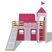 Loft Bed With Slide Ladder Natural Colour Castle-themed