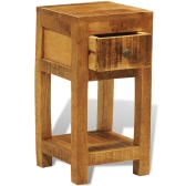 Solid Wood Display Side Table Nightstand with 1 Drawer
