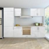 7 pcs High Gloss White Kitchen Cabinet Unit for Built-in Fridge 270 cm