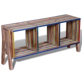 TV Cabinet with 3 Shelves Stackable Reclaimed Teak Colourful