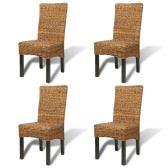 Brown Abaca Handmade Rattan Dining Chair Set 4 pcs