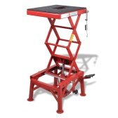 Red Motorcycle Lift 135 kg with Foot Pad, Locking Bar, Release Valve