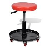 Adjustable Mechanic Rolling Seat Stool Garage Shop Stool Round