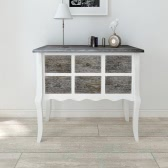 Console cabinet 6 drawers white wood