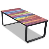 Glass Coffee Table with Rainbow Printing