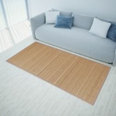 Rectangular Brown Bamboo Rug 80 x 200 cm