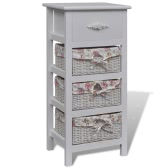 White Cabinet with 1 Drawer and 3 Baskets Wood