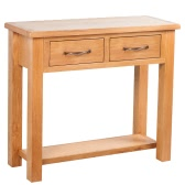 Console Table with 2 Drawers 83 x 30 x 73 cm Oak