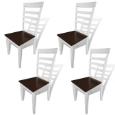 4 pcs Brown White Solid Wood Dining Chairs