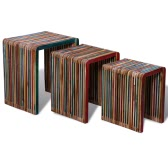 Wood Nesting Tables Colourful Reclaimed Teak Set of 3