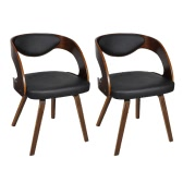 Set of 2 Dining Chairs with Padded Bentwood Backrest