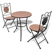 Mosaic Bistro Table 60 cm with 2 Chairs Terracotta