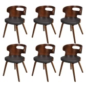Set of 6 Dining Chairs with Cut-out Bentwood Backrest