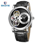 SKONE Dual Movement Wristwatch Automatic Self Wind Mechanical Watches Men Luxury Brand Quartz Watch Leather Watchband