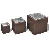 Garden Square Rattan Planter Set 3 pcs Brown