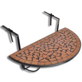 Mosaic Balcony Table Hanging Semi-circular Terracotta