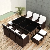 Brown Poly Rattan Dining Set Table 6 Chairs 4 Stools