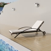 Rattan Sunbed Backrest Adjustable Brown