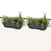 2PCS Rattan Balcony Trapezoid Planter Set 50cm Black