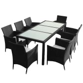 Black Poly Rattan Garden Furniture Set 1 Table 8 Chairs