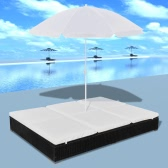 Luxury Outdoor Poly Rattan Sun Lounger 2 Persons with Umbrella Black