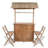 Bamboo Bar Counter Set 2 Stool + 1 Table