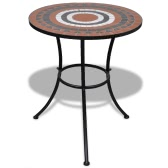 Mosaic Table 60 cm Terracotta / White