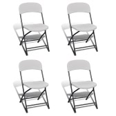 Foldable Garden Chair Set of 4 HDPE White