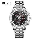 BUREI Men Sport Watch Stainless Steel Sapphire Glass Quartz Waterproof Wristwatch Chronograph Analog Man Watches