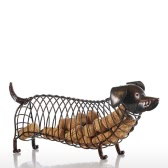 Tooarts Dachshund Wine Cork Container Iron Craft Animal Ornament Gift, Brown, 13.8 * 4.7 * 5.9inches