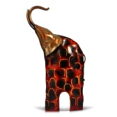 Tooarts Metal Sculpture Raising Head Iron Art Elephant Home Furnishing Articles