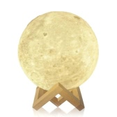Moon Lamp Tooarts 3D Printed Lamp Modern Sculpture Home Decoration Ornament Artwork Modern Art Moon Lunar Decor Gift US Plug 100-240V 50/60Hz
