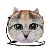 New Cute Women Shoulder Bag Cat Face Cartoon Print Zipper Closure Messenger Clutch Coin Purse Crossbody Bag