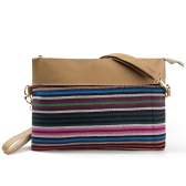 New Vintage Women Canvas Clutch Bag PU Splice Striped Print Wrist Strap Street Shoulder Handbag