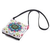 New Vintage Women Floral Printed Canvas Crossbody Messenger Bag Ethnic Shopping Bag Casual Shoulder Flap Bag