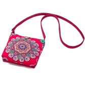New Vintage Women Floral Printed Canvas Crossbody Messenger Bag Ethnic Shopping Bag Casual Shoulder Flap Bag