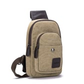 New Fashion Men Boys Casual Canvas Crossbody Bag Multi-Pocket Military Army Style Zipper Outdoor Small Bag Black/Khaki