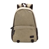 New Fashion Men Canvas Backpack Zipper Casual School Bag Rucksack Laptop Travel Bag Khaki/Grey