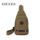 Vintage Men Canvas Chest Bag Adjustable Strap Zipper Durable Outdoor Solid Sling Crossbody Shoulder Bag