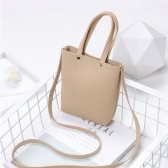 Fashion Women Mini Handbag PU Leather Solid Color Small Crossbody Shoulder Bucket Bag