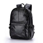 Men Leather Backpack PU School Bag Laptop Backpack Hiking Travel Bag Black/Brown