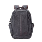 Men Canvas Backpack Shoulder Bag Zipper Casual School Bag Rucksack Handbag Laptop Travel Bag Black/Khaki