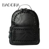 New Korea Women PU Leather Backpack Rivet Teenage Girls Preppy Rucksack Casual School Bag Black
