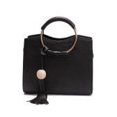 New Women Bag Shoulder Bag Handbag PU Leather Metal Ring Handle Tassel Tote Crossbody Bag Black/Grey/Pink