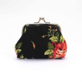 New Women Mini Clutch Flower Wallet Hasp Canvas Purse Cute Coin Holder Case Bag
