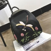 Women Nylon Backpack Dragonfly Pattern Embroidery Floral Applique Multipurpose Shoulder Bags Mochila Schoolbag Black