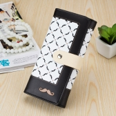 Cute Fashion Women Purse Moustache Beard Print Contrast Plaid Long Wallet Phone Card Holder
